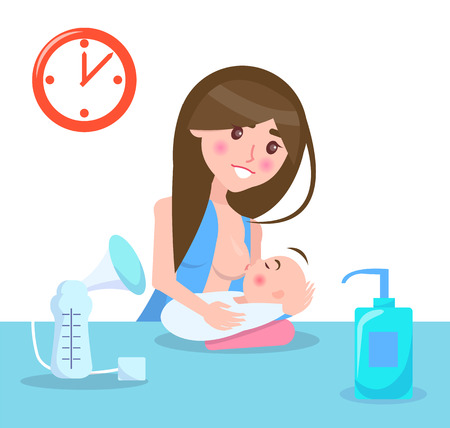 Illustrazione per Breastfeeding Mother and Child Vector Illustration - Immagini Royalty Free