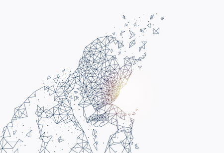 Illustration pour Abstract Portrait of Man Composed of Triangles - image libre de droit