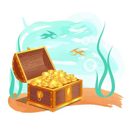 Ilustración de Gold Treasures in Wooden Chest at Ocean Bottom - Imagen libre de derechos