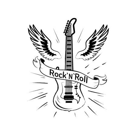 Photo for Rock n roll Picture and Guitar Vector Illustration - Royalty Free Image