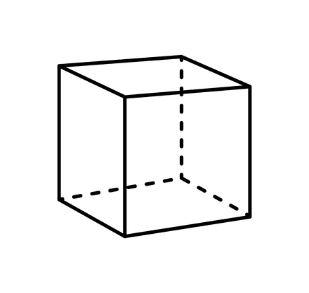 Illustration for Cube Isolated Geometric Figure of Black Projection - Royalty Free Image