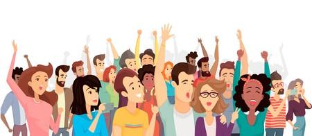 Illustrazione per Crowd of Happy People Poster Vector Illustration - Immagini Royalty Free