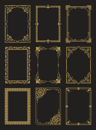 Illustration pour Vintage Frames Collection Golden Borders Isolated - image libre de droit