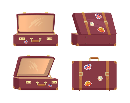 Illustration for Leather Vintage Suitcases Open Closed Briefcases - Royalty Free Image