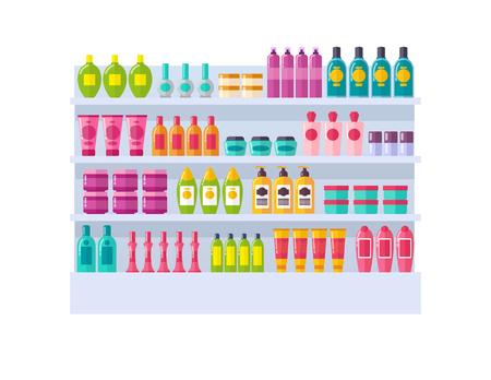 Illustration pour Lot of Bottles on Shelves Vector Illustration - image libre de droit