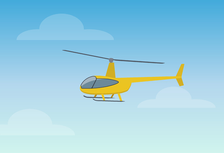 Illustration pour Pretty Yellow Helicopter Color Vector Illustration - image libre de droit