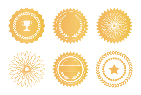 Illustration for Set Water Marks Golden Seals Star Laurel Branches - Royalty Free Image