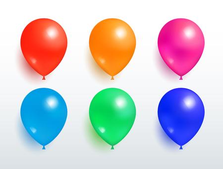 Illustration pour Set of Flying Balloons Red Orange Pink Blue Green - image libre de droit