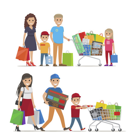 Ilustración de Groups of People Doing Shopping Vector Picture - Imagen libre de derechos
