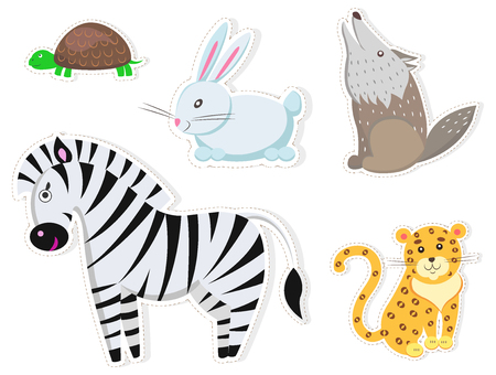 Illustration pour Friendly Cartoon Wild Animals Isolated Stickers - image libre de droit