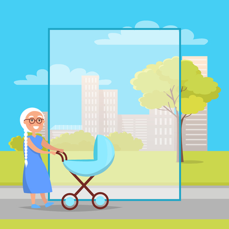 Illustration pour Senior Lady with Trolley Pram Walking in City Park - image libre de droit