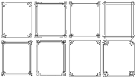 Illustration pour Ornamental Frames with Corners in Different Style - image libre de droit