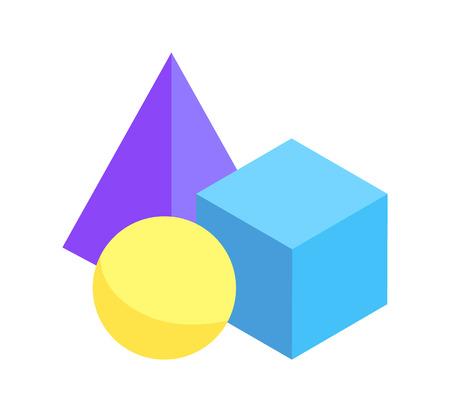 Photo pour Three Colorful Geometric Figures Prisms Collection - image libre de droit