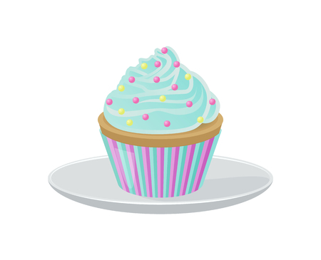 Illustration pour Cupcake with Blue Cream and Bright Round Sprinkles - image libre de droit