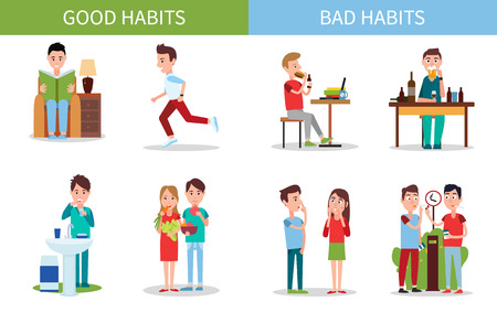 Illustration for Bad and Good Habits Poster Set Vector Illustration - Royalty Free Image