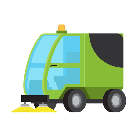 Illustration pour Road Sweeping Machine Isolated Flat Vector Icon - image libre de droit