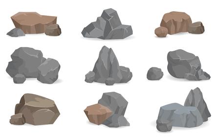 Illustration pour Set of Stones and Rocks for Game Design, Set Gems - image libre de droit