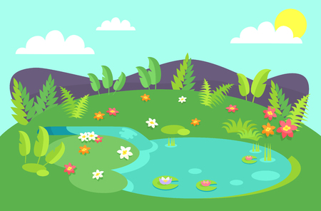 Ilustración de Pond with tropical bushes and green leaves, flowers of different color, water lilies on background of hills or stones, blue sky with clouds and sky - Imagen libre de derechos