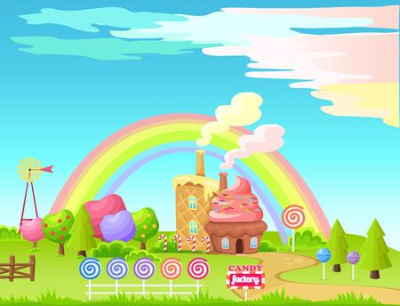 Illustration pour Candy Factory Fairy Cartoon Flat Vector Concept - image libre de droit