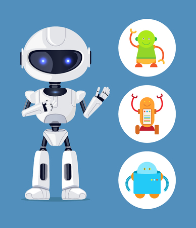 Illustration pour Futuristic Humanoid and Small Mechanic Robots Set - image libre de droit