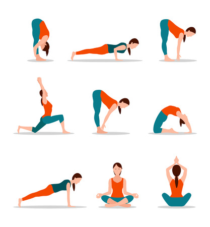 Photo for Yoga Positions Collection Vector Illustration - Royalty Free Image