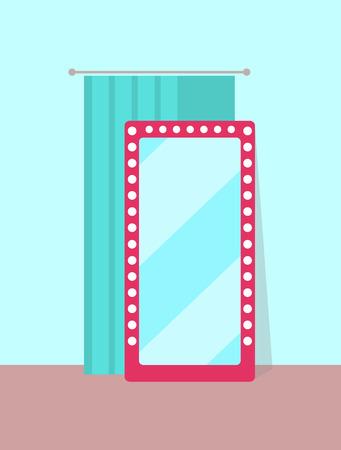 Illustration pour Clothing Store Changing Room Vector Illustration - image libre de droit