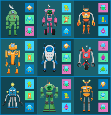 Illustration pour Robot Models Group Isolated on Dark Backgrounds - image libre de droit