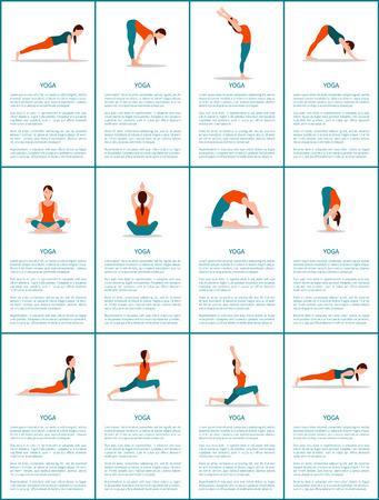 Ilustración de Yoga Set of Different Positions, Colorful Poster - Imagen libre de derechos
