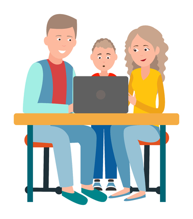 Ilustración de Parents and Son Sitting in Front of Open Laptop - Imagen libre de derechos