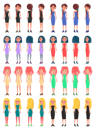 Illustration for Young Pretty Women in Elegant Stylish Dresses Set - Royalty Free Image