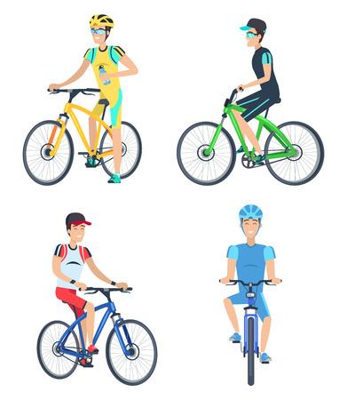 Illustration pour Bicyclists Wearing Costumes Vector Illustration - image libre de droit