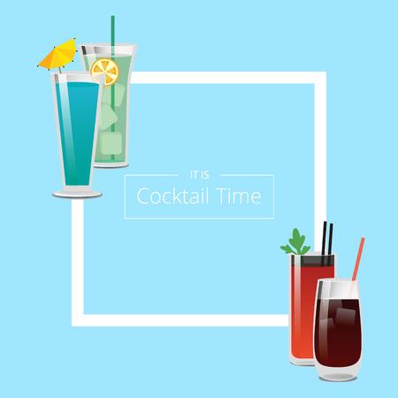 Illustration pour Its Cocktail Time Poster with Square Shape Frame - image libre de droit