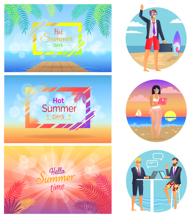 Ilustración de Hot Summer Days Freelance Set Vector Illustration - Imagen libre de derechos