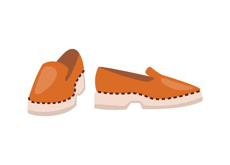Ilustración de Leather Shoes of High Quality on Solid White Sole - Imagen libre de derechos
