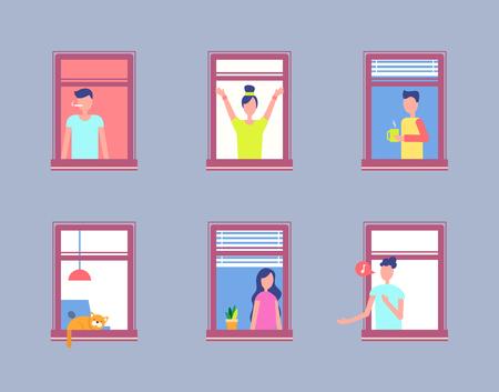 Illustration pour Set People Open Window. Men and Women Neighbours - image libre de droit