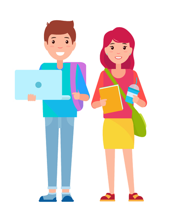 Illustration pour Young boy and girl standing together, student boy with laptop, student girl holding cup and book, vector illustration isolated on white background - image libre de droit