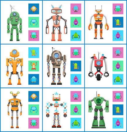 Illustration pour Robot with screens and wheels, collection of mechanisms and robotic creatures set, cyborgs and robot vector illustration isolated on white background - image libre de droit