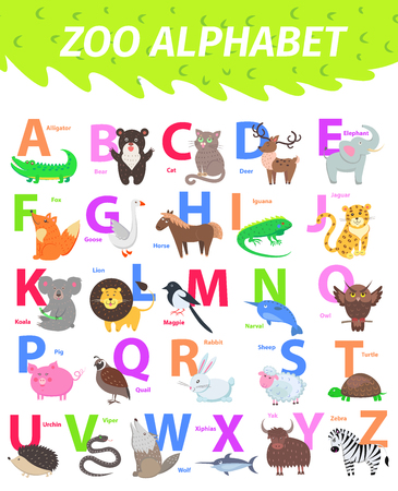 Ilustración de Zoo alphabet with cute animals cartoon vector. English letters set with funny animals isolated flat illustrations. Childrens ABC with mammal, bird, pet and caption for preschool education, kids books - Imagen libre de derechos