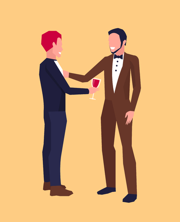 Illustration pour Icon with two smiling males in middle of conversation, one of them has glass of wine. Vector illustration of two men in suits isolated on orange background - image libre de droit
