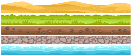 Ilustración de Seamless grounds and land surface types set. Sand dunes in desert, green meadow with grass, ground with stones, cracked dried soil and water flat vector on white. UI game environment design element - Imagen libre de derechos