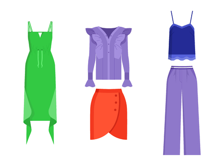 Illustration pour Set of mode clothing isolated on white backdrop, vector illustration with green dress with waving elements, lilac shirt and trousers, mode red skirt - image libre de droit