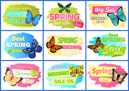 Ilustración de Best spring sale posters set, collection of banners with butterflies and headlines, discount offer and sale vector illustration isolated on white - Imagen libre de derechos