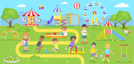 Illustrazione per Happy kids spend time on childrens playground in city park. Vector illustration of adorable kindergarten characters walking outdoors in amusement center - Immagini Royalty Free