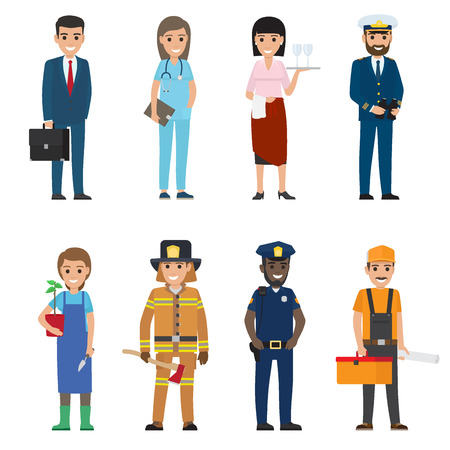 Ilustración de Professions people vector icons set. Different profession woman and man cartoon characters in uniform and with implements isolated on white. Occupations flat illustration for labor day, job concepts - Imagen libre de derechos