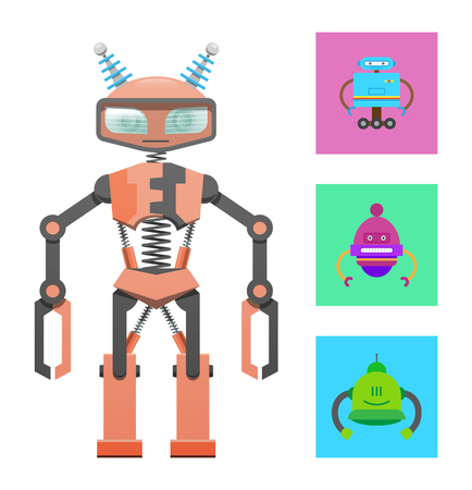Illustration pour Humanoid robot, construction sample, color banner, vector illustration with varied robots set isolated on white backdrop, cyborg with antennas on head - image libre de droit
