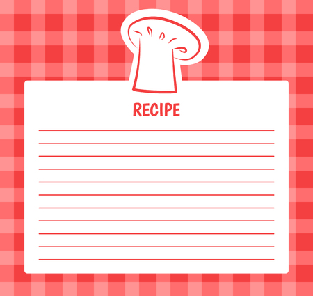 Illustration pour Recipe list design with chef hat, blank page to write in order or receipt, banner with spare place for text, ingredients and steps of cooking vector - image libre de droit