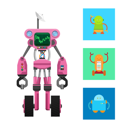 Illustration pour Pink robot machine on two black wheels vector card, illustration with three droids in colorful squares, robot with dark display and round antenna - image libre de droit