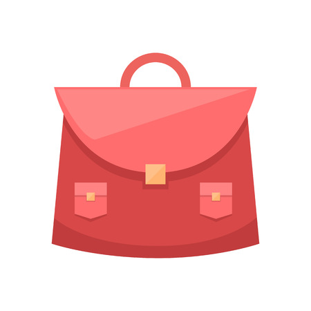 Illustration for Red schoolgirl bag with metal clip and two pockets vector illustration leather purse isolated on white background, schoolbag for girl flat style icon - Royalty Free Image