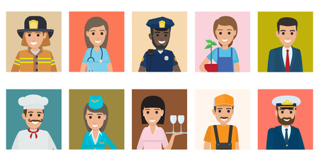 Ilustración de Professions people vector icons set. Different profession men and women cartoon characters in uniform isolated on colorful backgrounds. Occupations avatars flat illustration for labor day, job concept - Imagen libre de derechos