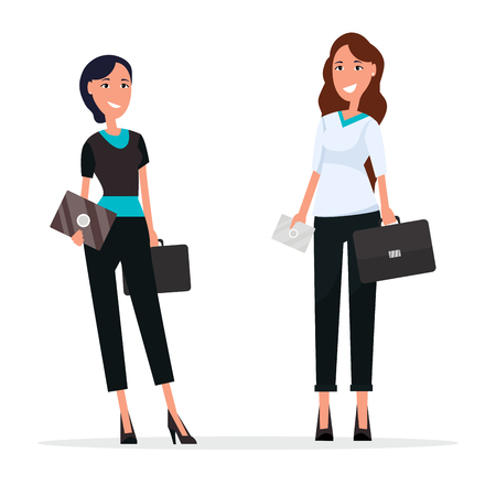 Illustration for Women with suitcases on white. Ladies on high heels dressed in formal suits. Vector illustration of businesswomen with cards or invitations - Royalty Free Image